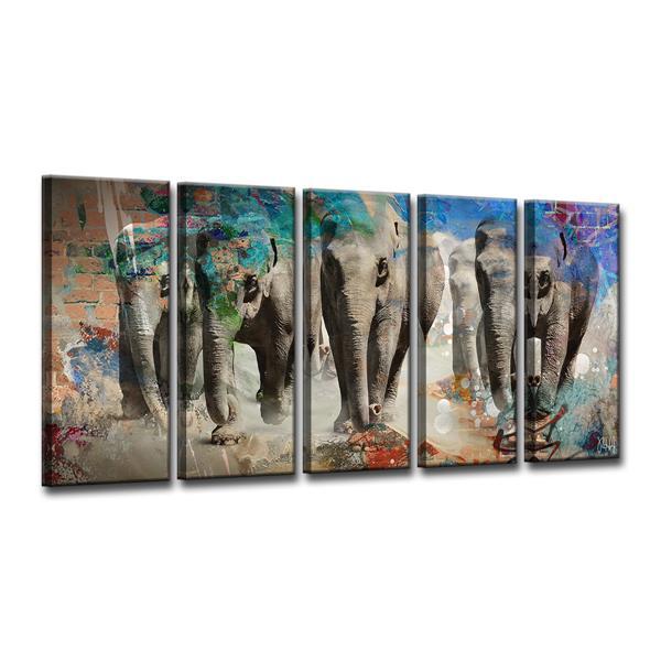 """Ens. d'art mural sur toile, éléphant, 60"""",  5 mcx"""
