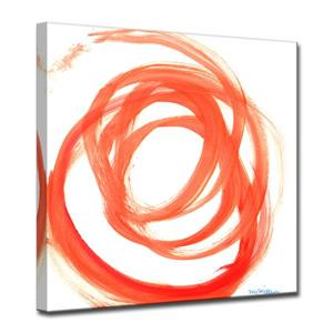 "Décoration murale en toile, tourbillon orange, 30"", orange"
