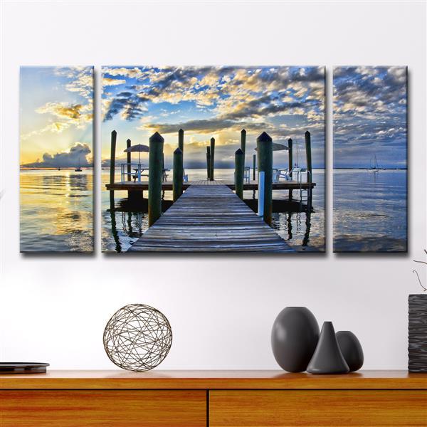 """Pier Burst Canvas Wall Décor Set - 60"""" - Blue - 3 Pcs"""