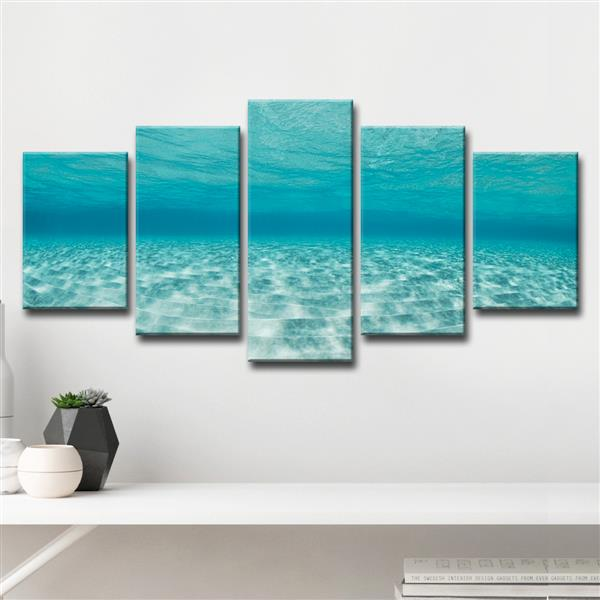"Crystaline Waters Wall Décor Set - 60"" - Blue - 5 Pcs"