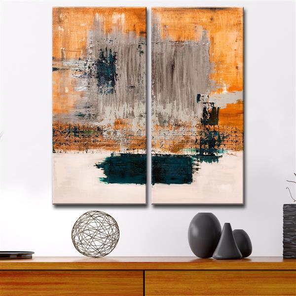 """Ens. d'art mural Bueno Exchange, 40"""", orange, 2 mcx"""