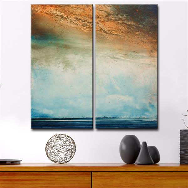 Ready2HangArt Abstract Landscape Wall Décor Set - 40-in - Blue - 2 Pcs
