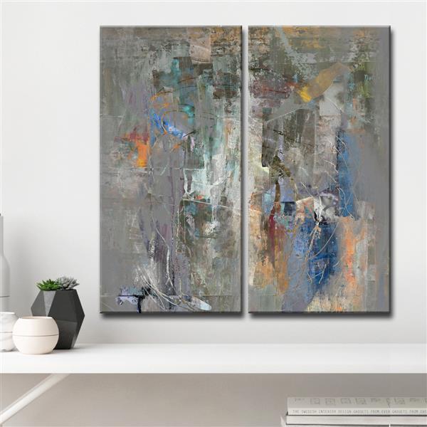 "Ens. d'art mural Bueno Exchange, 40"", gris, 2 mcx"