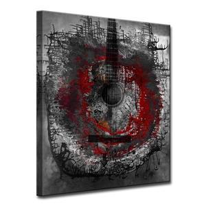 """Décoration murale sur toile, guitare acoustique, 30"""", rouge"""