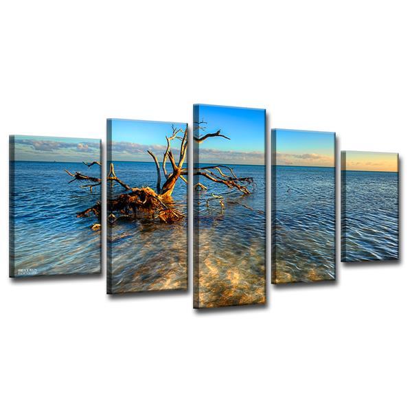Ready2HangArt Ocean View Canvas Wall Décor Set - 60-in - Blue - 5 Pcs