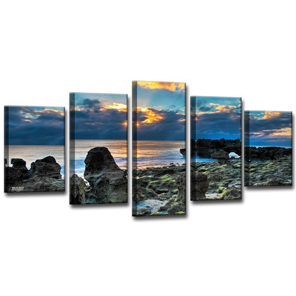 """Sun Rise Wall Décor Set - 60"""" - Blue - 5 Pcs"""