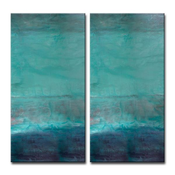 Ready2HangArt Abstract Spa Canvas Wall Décor Set - 40-in - Blue - 2 Pcs