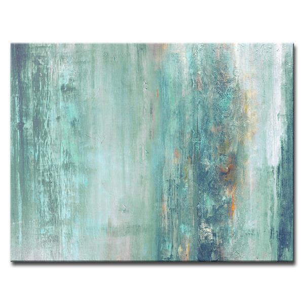 """Décoration murale sur toile, abstrait, 40"""", bleu"""