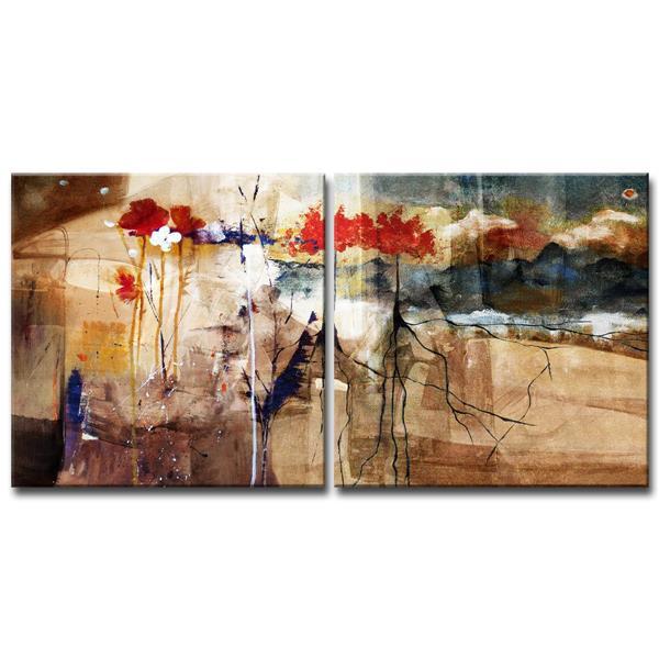 """Ens. d'art mural, floral, 60"""", 2 mcx"""