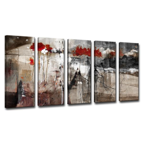 Ready2HangArt Abstract Canvas Wall Décor Set - 60-in - Brown - 5 Pcs