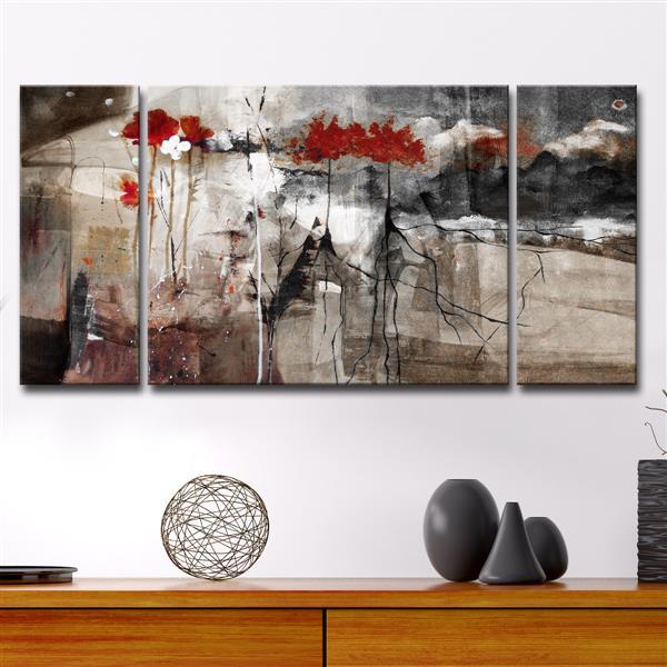 """Ensemble de toiles, abstrait, 60"""", brun, 3 mcx"""