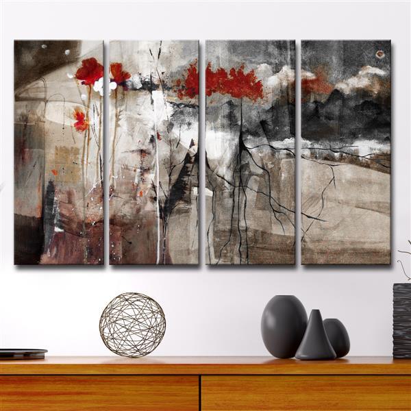 """Ensemble de toiles, abstrait, 48"""", brun, 4 mcx"""