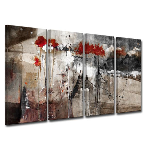 "Abstract Canvas Wall Décor Set - 48"" - Brown - 4 Pcs"