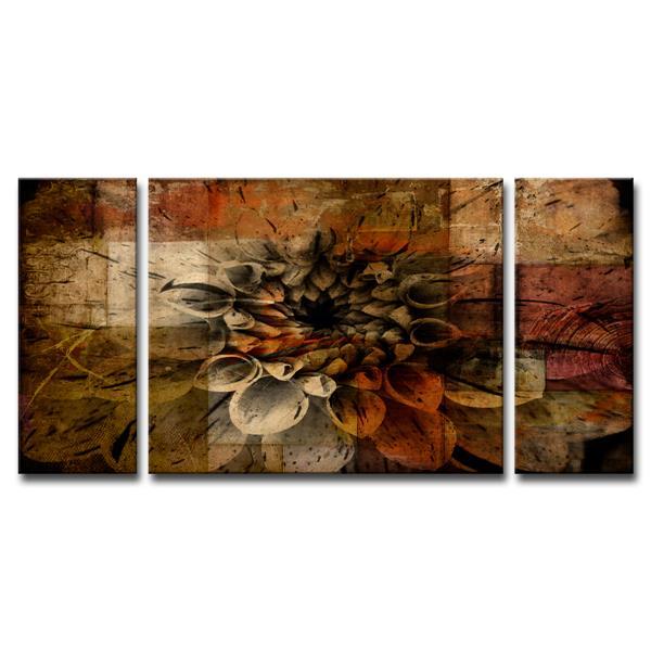 "Daisy Canvas Wall Décor Set - 60"" - Brown - 3 Pcs"