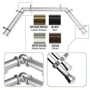 Rod Desyne Bay Window Curtain Rod  - Stainless Steel