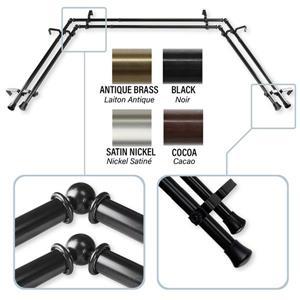 Bay Window Curtain Rod - Stainless Steel - Black