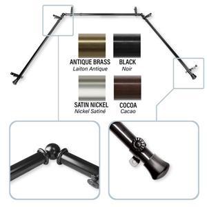 Rod Desyne Bay Window Curtain Rod - 0.81-in - Stainless Steel - Black