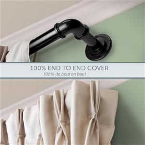 Rod Desyne Curtain Rod - 120-in to 170-in - Stainless Steel - Black