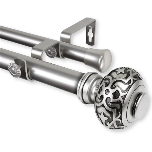 Rod Desyne Maple Double Curtain Rod - 66-in to 120-in - Nickel