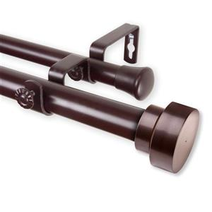Rod Desyne Bonnet Double Curtain Rod - 28-in to 48-in - Mahogany