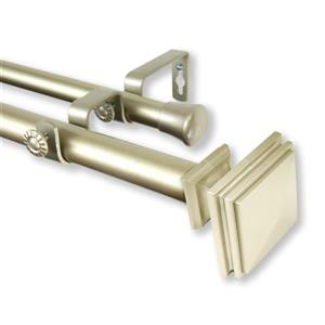 Rod Desyne Bedpost Double Curtain Rod - 120-in to 170-in - Gold