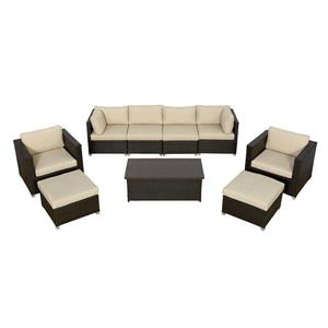 Think Patio Innesbrook Patio Conversation Set - Tan Cushions - 9-piece