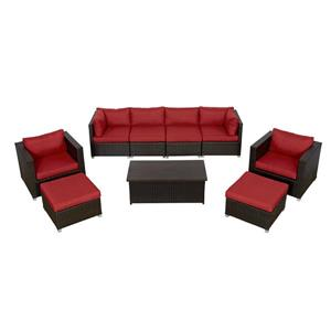 Think Patio Innesbrook Patio Conversation Set - Red Cushions - 9-piece