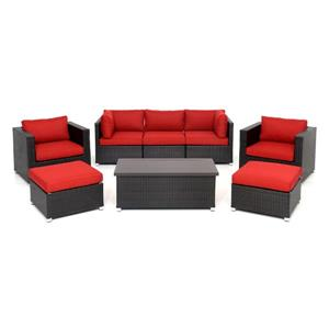 Innesbrook Patio Conversation Set - Red Cushions - 8-piece