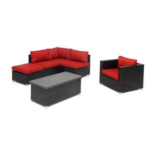 Think Patio Innesbrook Patio Conversation Set - Red Cushions - 6-piece