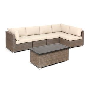 Think Patio Chambers Bay Patio Conversation Set - Tan Cushions - 6-piece