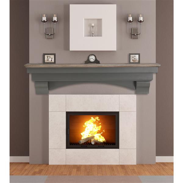 """Tablette de cheminée Hadley, 60"""", bois, gris"""