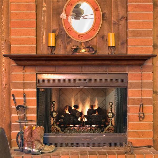 """Tablette de cheminée Homestead, 60"""", bois, naturel"""