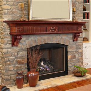 """Tablette de cheminée Devonshire, 60"""", bois, naturel"""