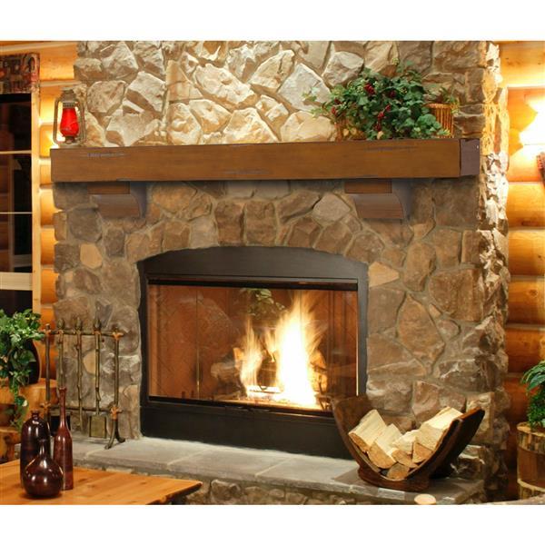 """Tablette de cheminée Shenandoah, 72"""", bois, brun rustique"""