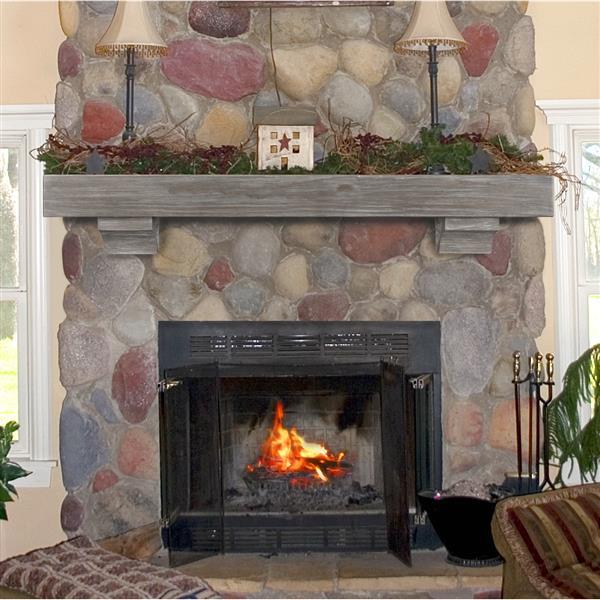 """Tablette de cheminée Shenandoah, 48"""", bois, gris"""