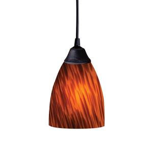 ELK Lighting Classico Mini Pendant Light - 1-Light - Dark Rust with Espresso Glass