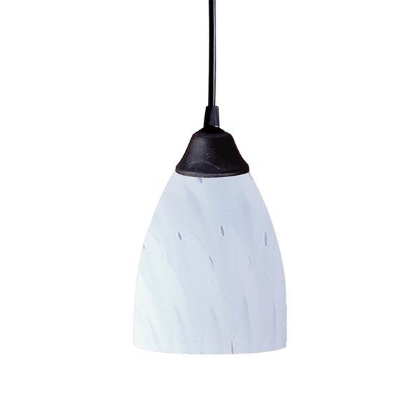 ELK Lighting Classico Mini Pendant Light - 1-Light - 5-in - Dark Rust with White Glass