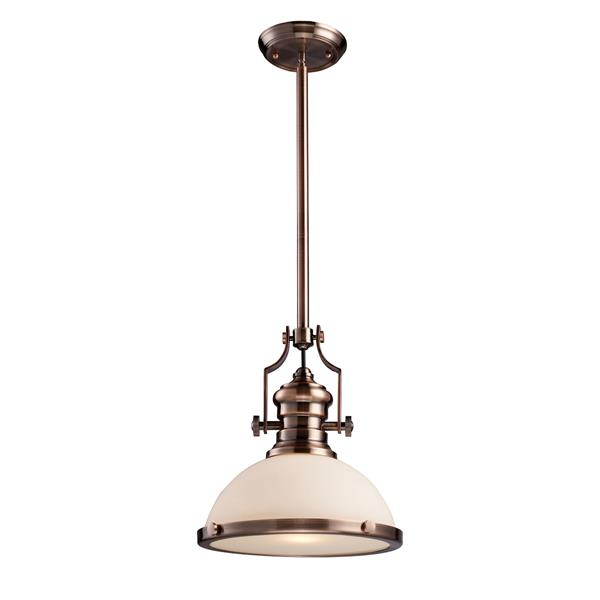 ELK Lighting Chadwick Pendant Light - 1-Light - 13-in - Antique Copper with White Glass