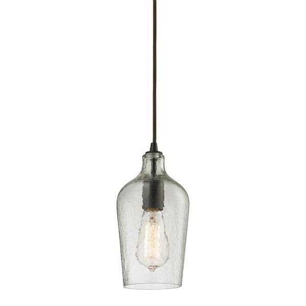ELK Lighting Hammered Glass Mini Pendant Light - 1-Light - Oil Rubbed Bronze