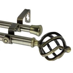 Rod Desyne Twist Double Curtain Rod - 28-48-in- 13/16-in- Brass
