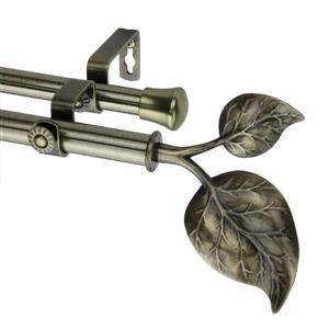 """Tringle à rideaux double Ivy, 28-48"""", 13/16"""", laiton"""