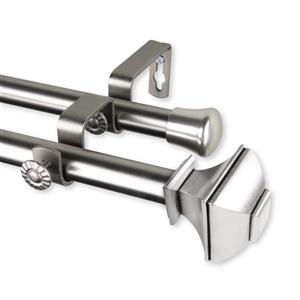 Rod Desyne Marion Double Curtain Rod- 66-120-in - 13/16-in - Nickel