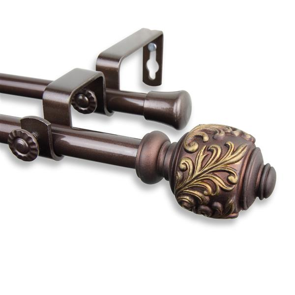 Rod Desyne Tilly Double Curtain Rod - 48-84-in - 5/8-in- Cocoa