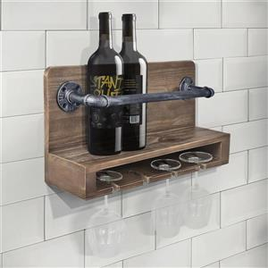 "Armen Living Vox Wine Rack - 24"" x 12"" - Wood composite - Gray"
