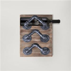 "Armen Living Hawk Wine Rack - 12"" x 18"" - Wood composite - Gray"