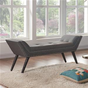 "Armen Living Porter Bench - 20"" x 51"" - Fabric - Charcoal"