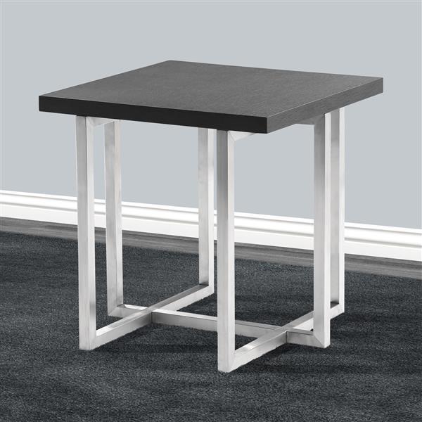 "Armen Living Topaz End Table - 21"" x 21"" - Wood - Gray"