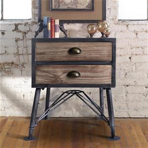 "Armen Living Mathis End Table - 20"" x 24.5"" - Metal - Pine"