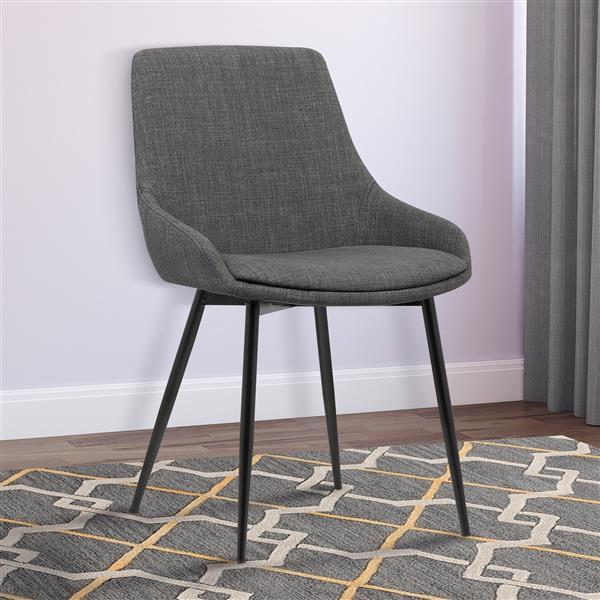 "Armen Living Mia Dining Chair - 33"" x 20"" - Polyester - Black"