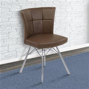 """Armen Living Spago Dining Chairs - 31"""" - Faux leather - Brown - Set of 2"""